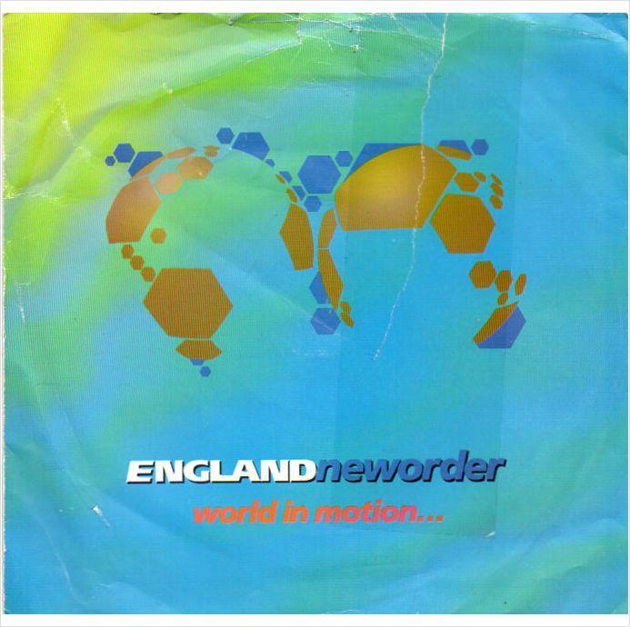 "England New Order - World in motion 1990 7"" vinyl single record FAC293-7"