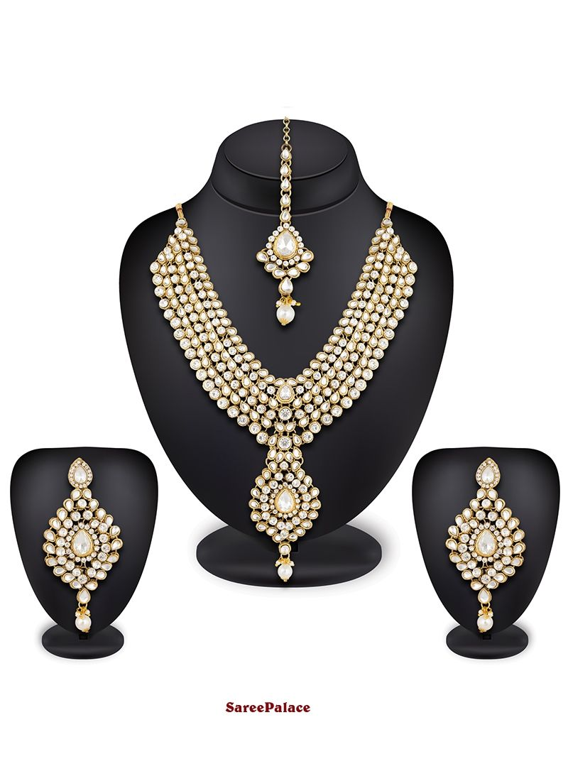 Stone work gold necklace set necklace set pinterest stone work