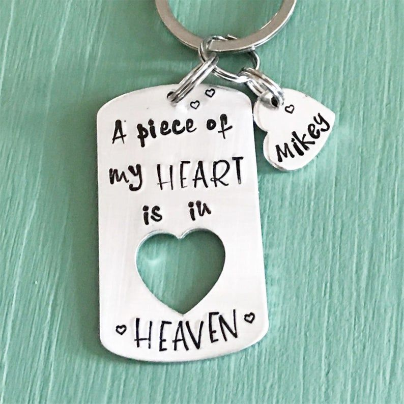 heaven remembrance memorial gift memorial charm in loving memory I will hold you in my heart MEMORIAL KEYCHAIN in memory of