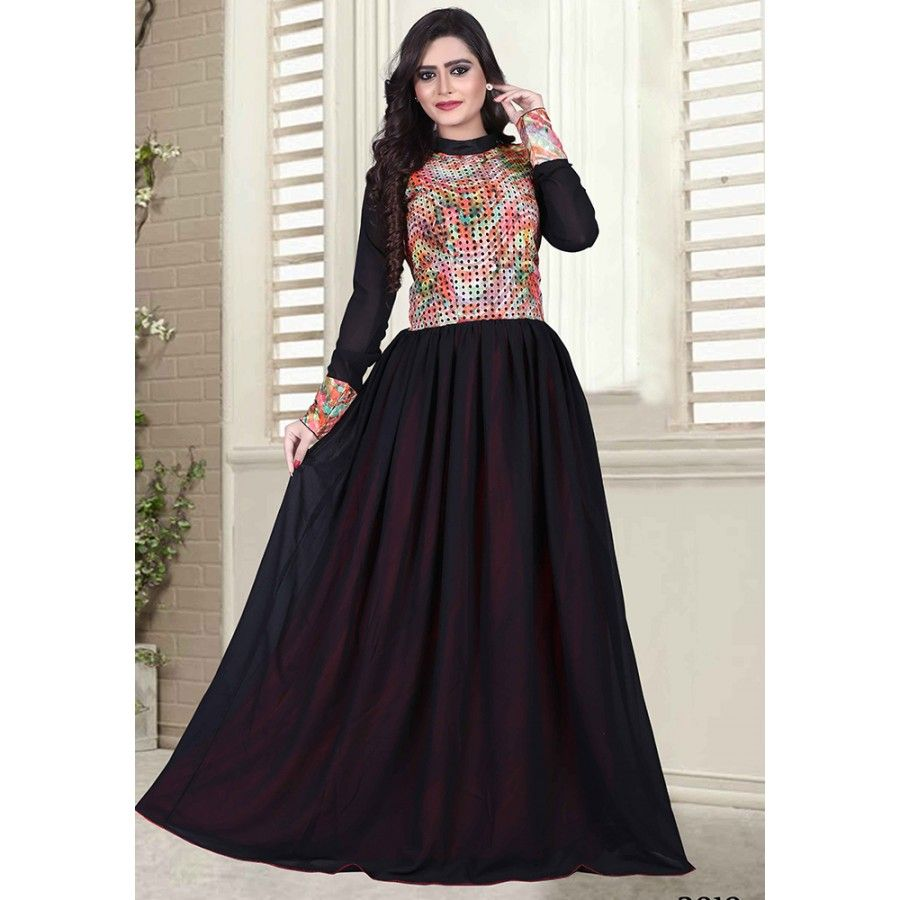 Designer Black Cotton Printed Gown at just Rs.1390/- on www ...