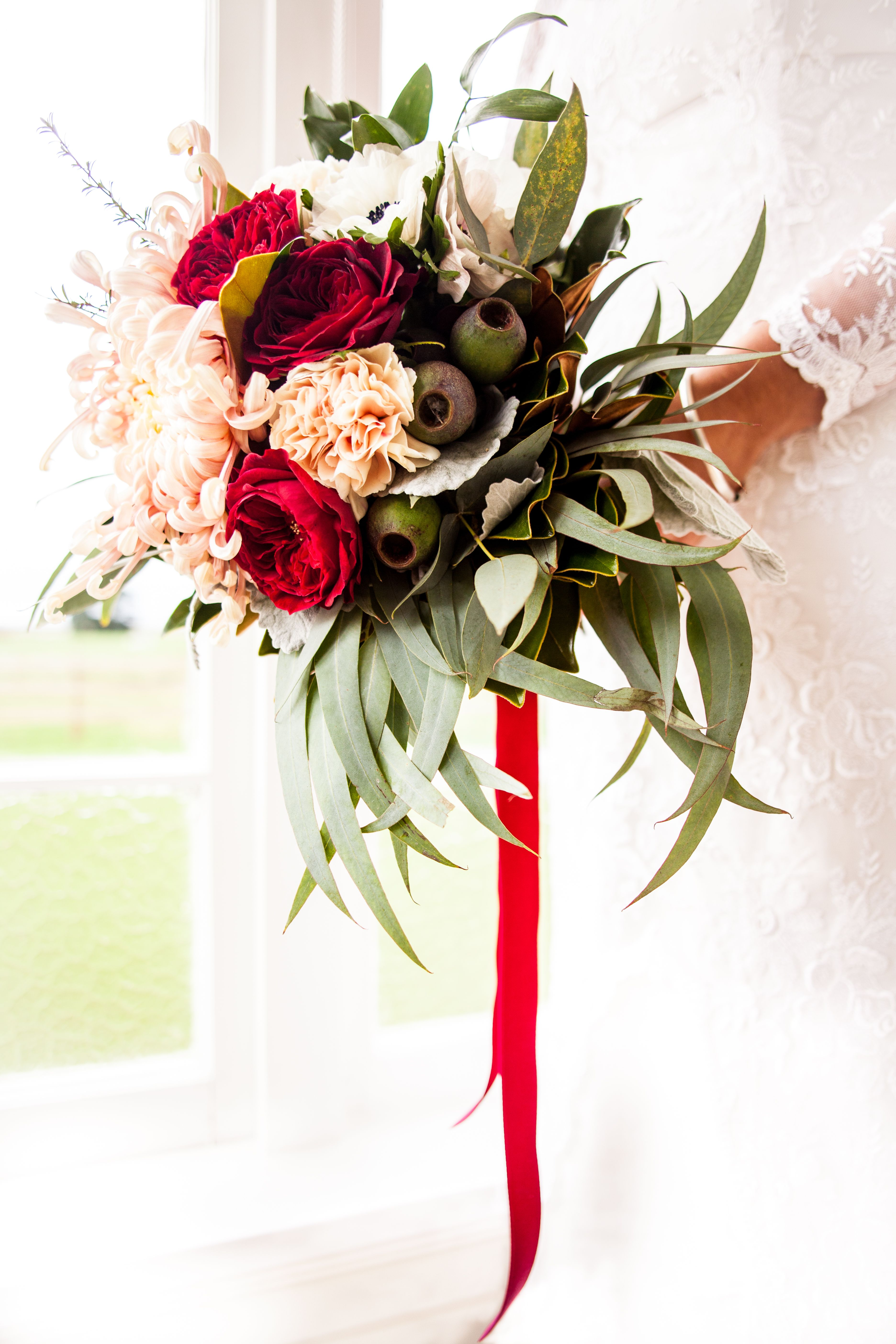 Beautiful Marsala Blush Wedding Bouquet Natural Greenery And