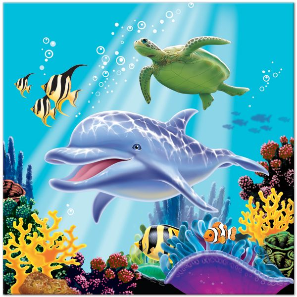 Dolphin Friends 6.5in Lunch Napkins 16ct | sea animal ...