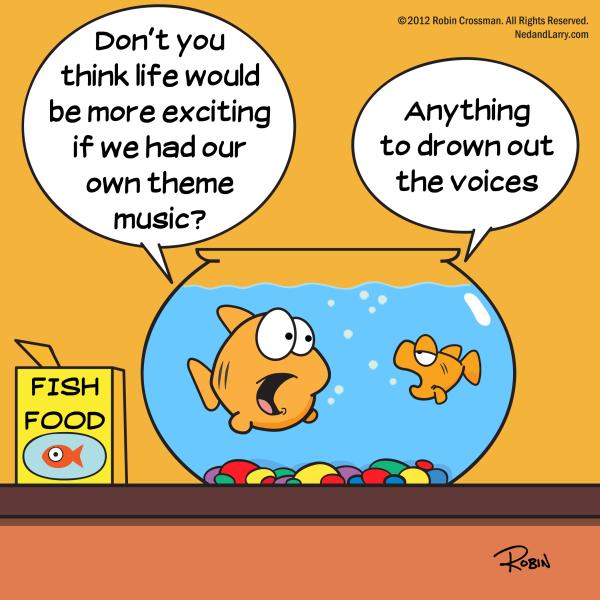 Funny cartoon goldfish