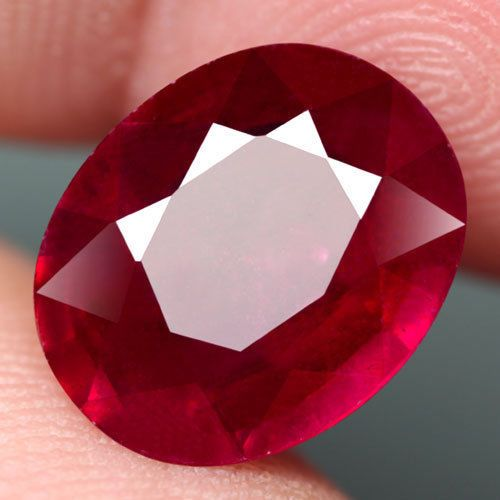 7.50CT.FABULOUS! OVAL FACET TOP BLOOD RED NATURAL RUBY MADAGASCAR