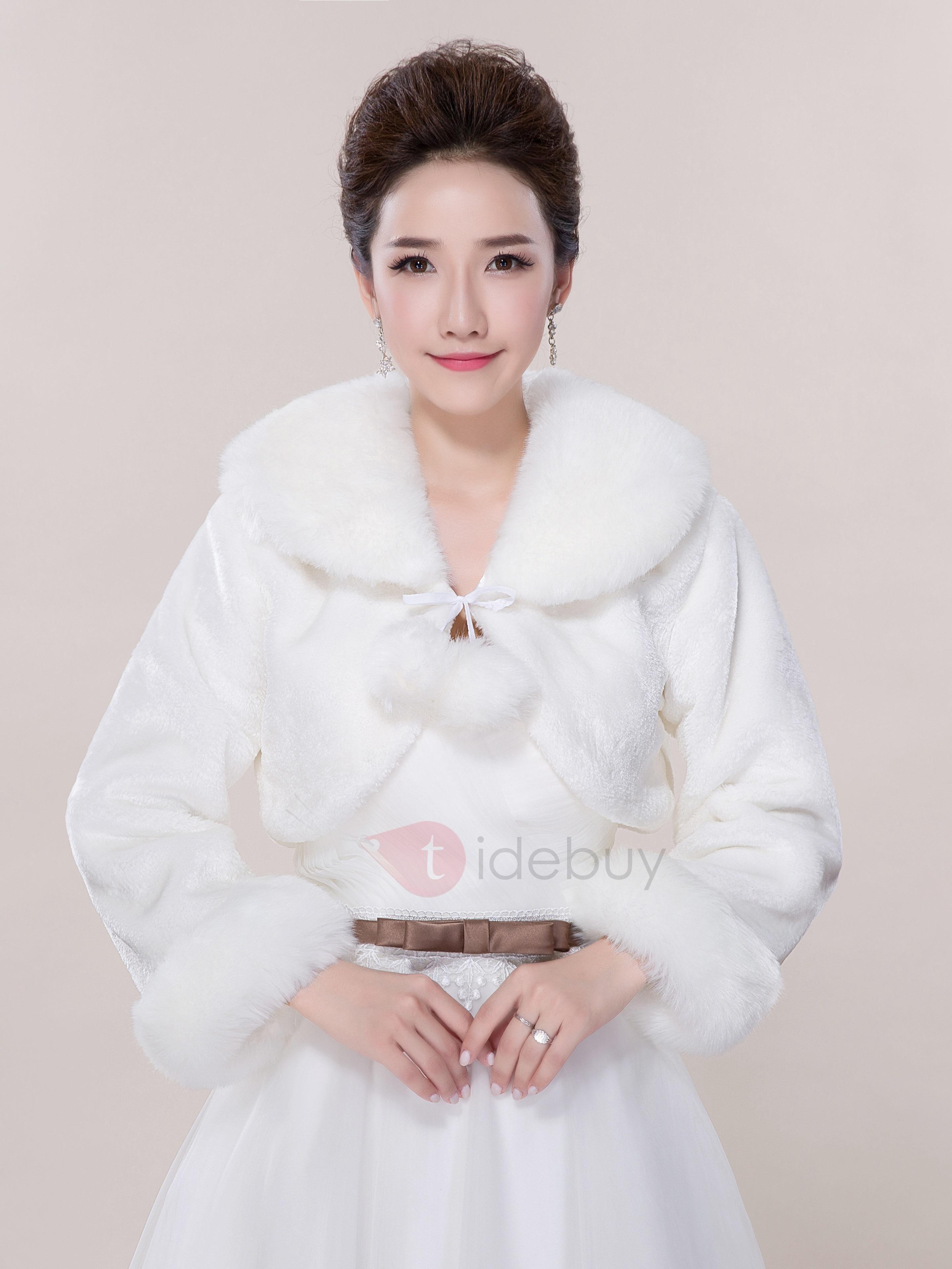 Fur wedding dress  TideBuy  TideBuy White Long Sleeve Faux Fur Wedding Jacket