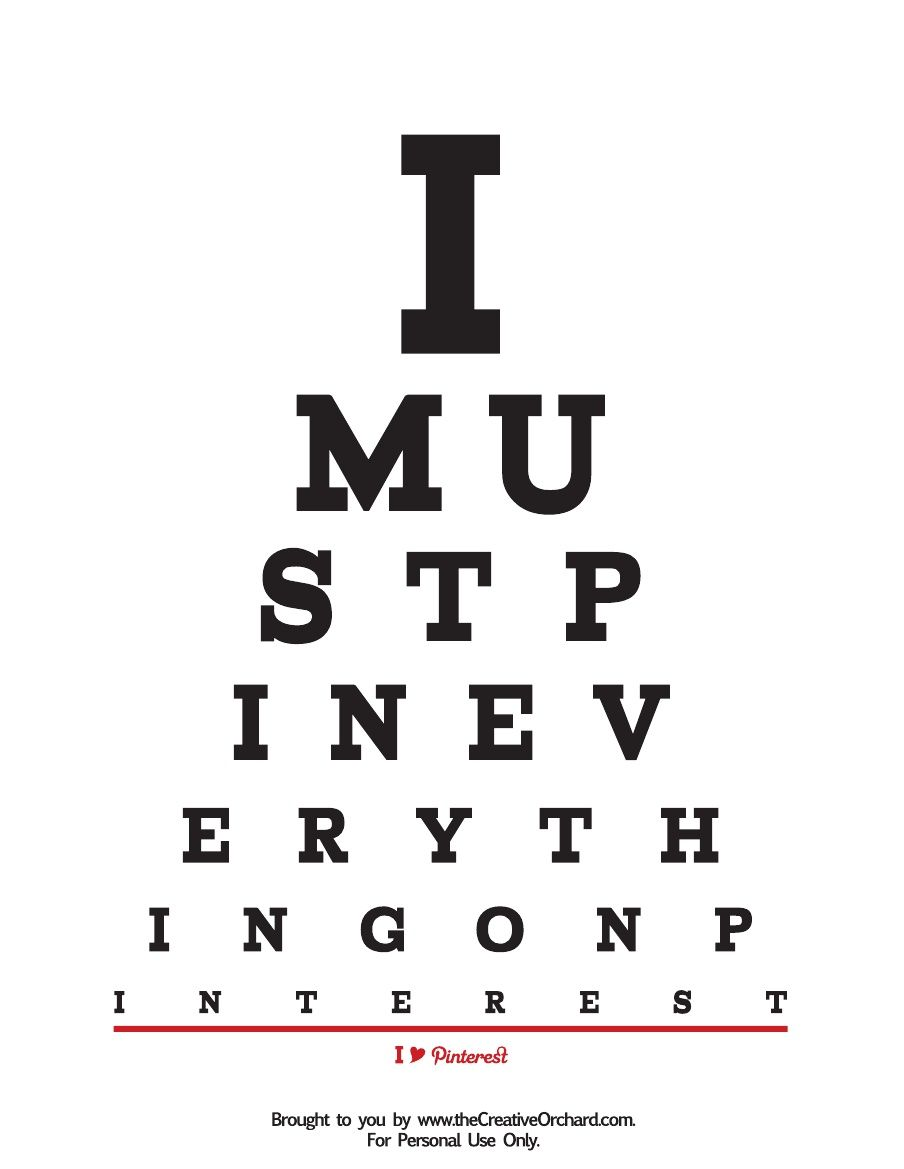 FREE Pinterest Eye Chart Poster  via the Creative Orchard