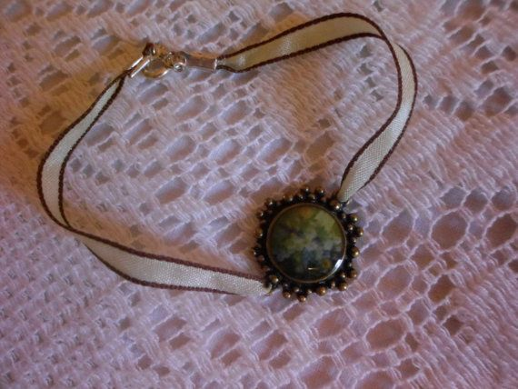 victorian charm bracelet with mint green and brown by pink2lace, $14.95