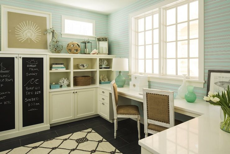 Martha Ohara Interiors Gorgeous Beachy Style Home Office With Wrap Around Built In Cabinetry