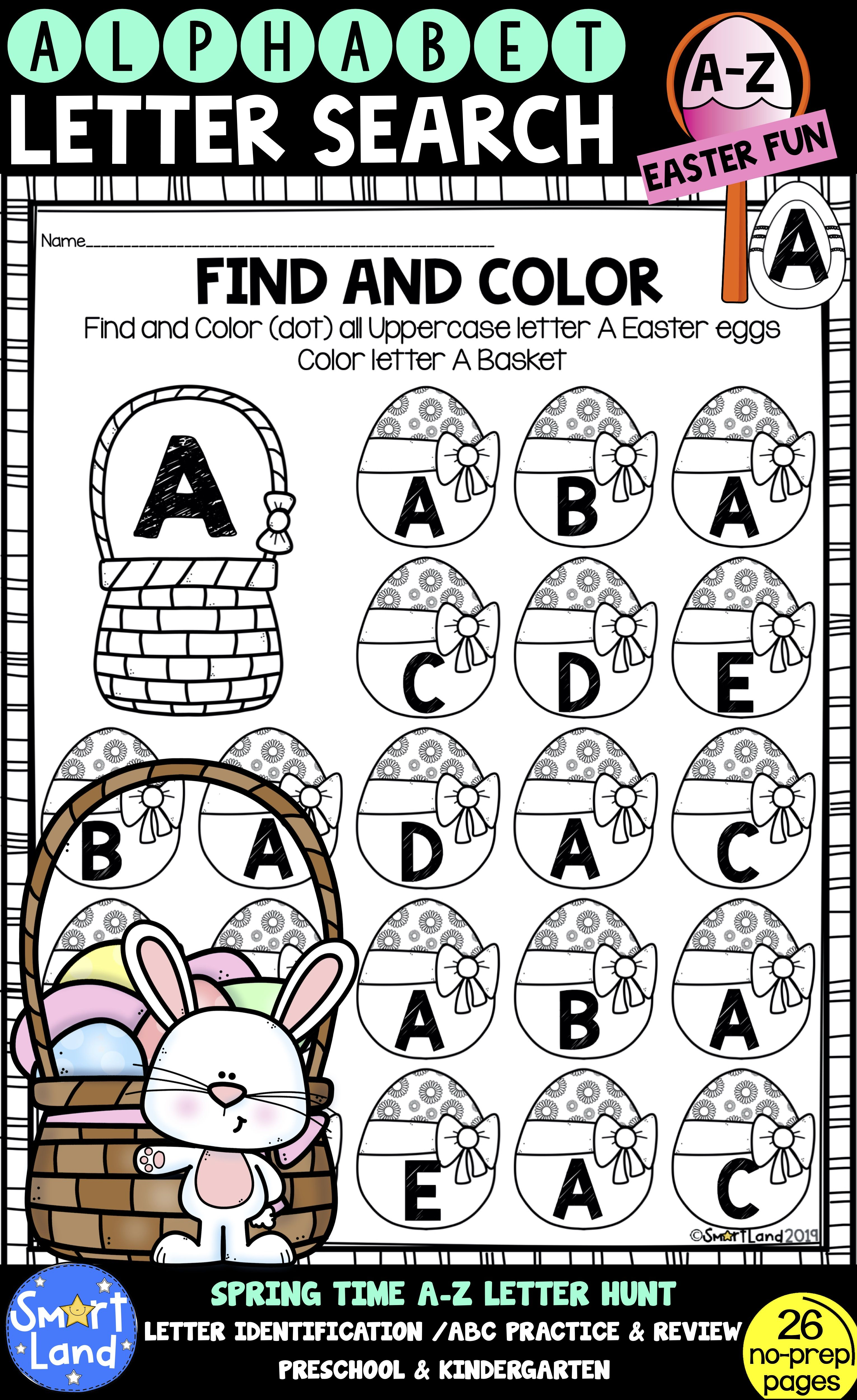 Alphabet Practice Letter Search Easter Eggs Alphabet Practice Free Lettering Letter Identification