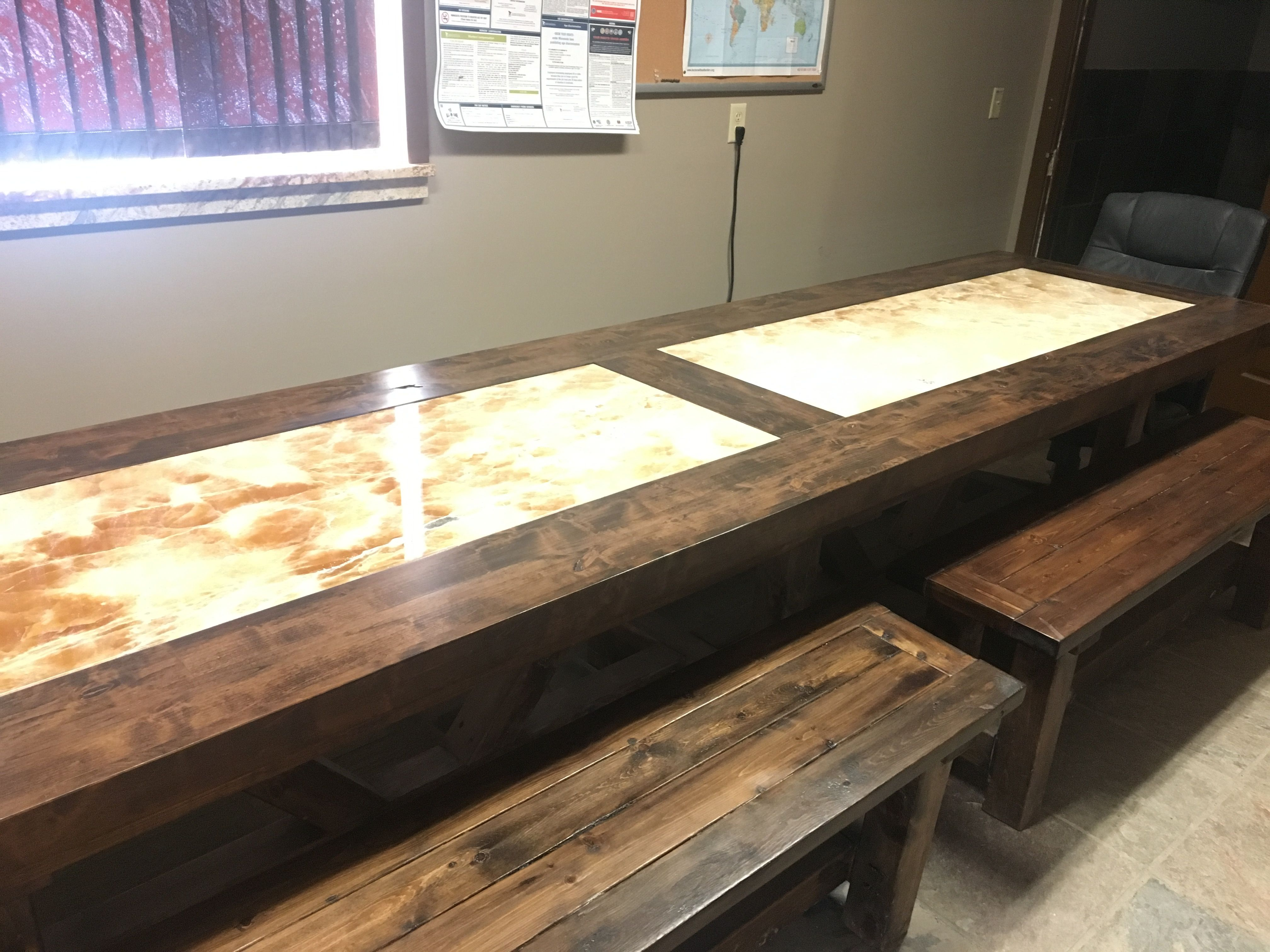 Alder Conference Table With Stone Inlay At Paramount Granite