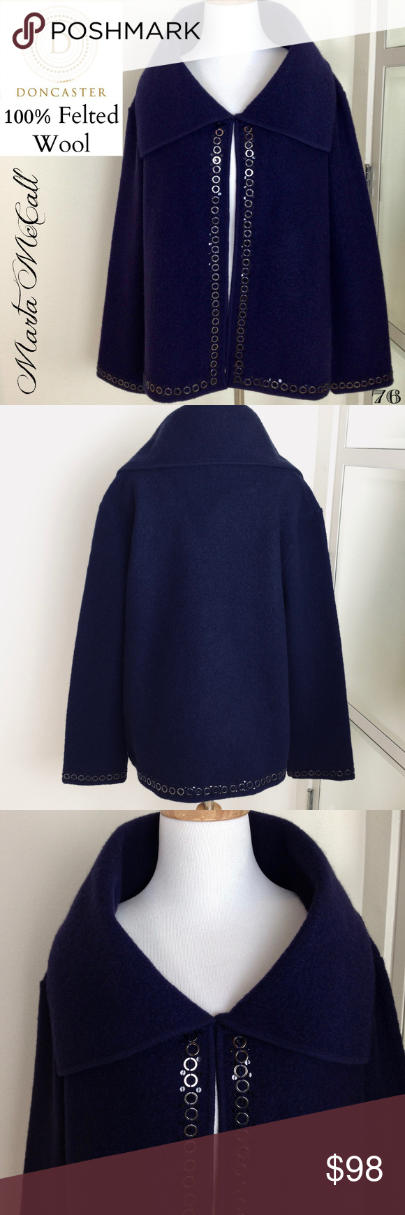 DONCASTER L Boiled Felted 100 Wool Open Jacket Clothes