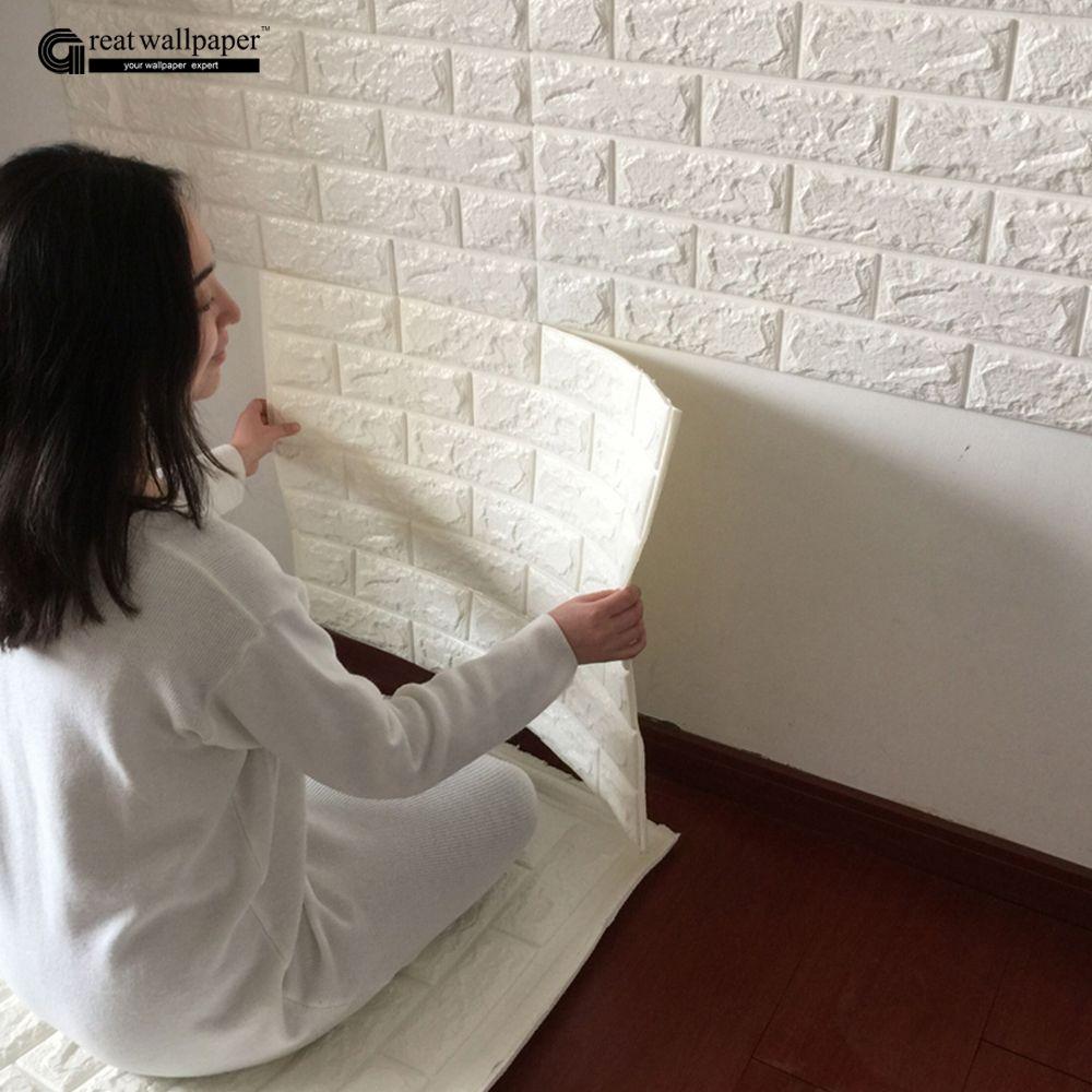 6fb3188a7 3D adesivos de parede parede de tijolo padrão de auto-adesivo papel de  parede quarto sala decorativo à prova d  água anti-colisão Loja Online