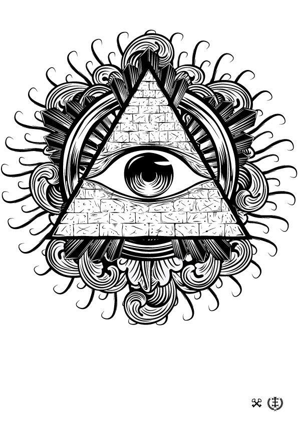 Amazing Black And Grey Triangle Eye Tattoo Design All