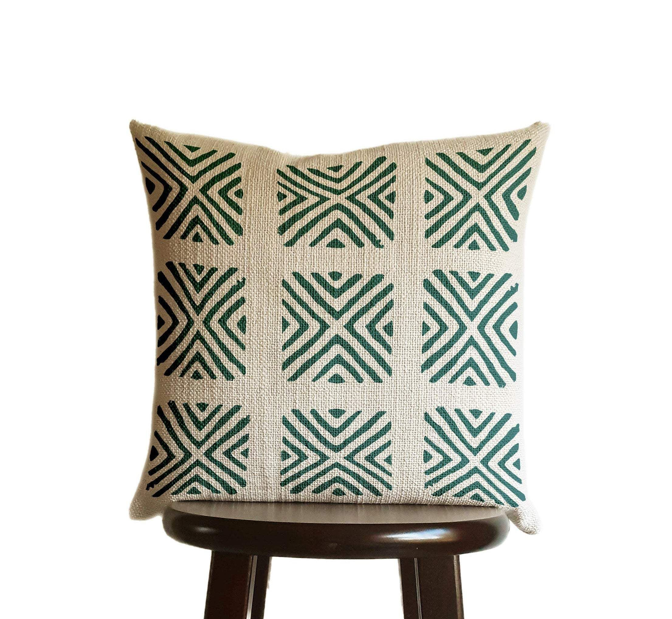 Blue Green Teal Pillow Cover, Tribal Urban Ethnic Square 18x18 in Natural Oatmeal Color Textured Woven Fabric in Modern Boho Home Decor - Lines - 18x18 inches