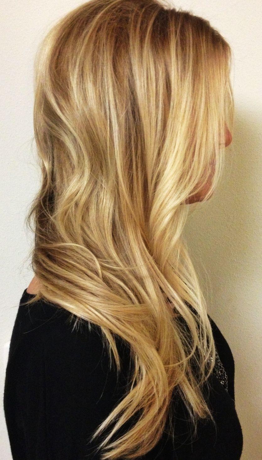 Dimensional long honey blonde hair balayage highlights summer