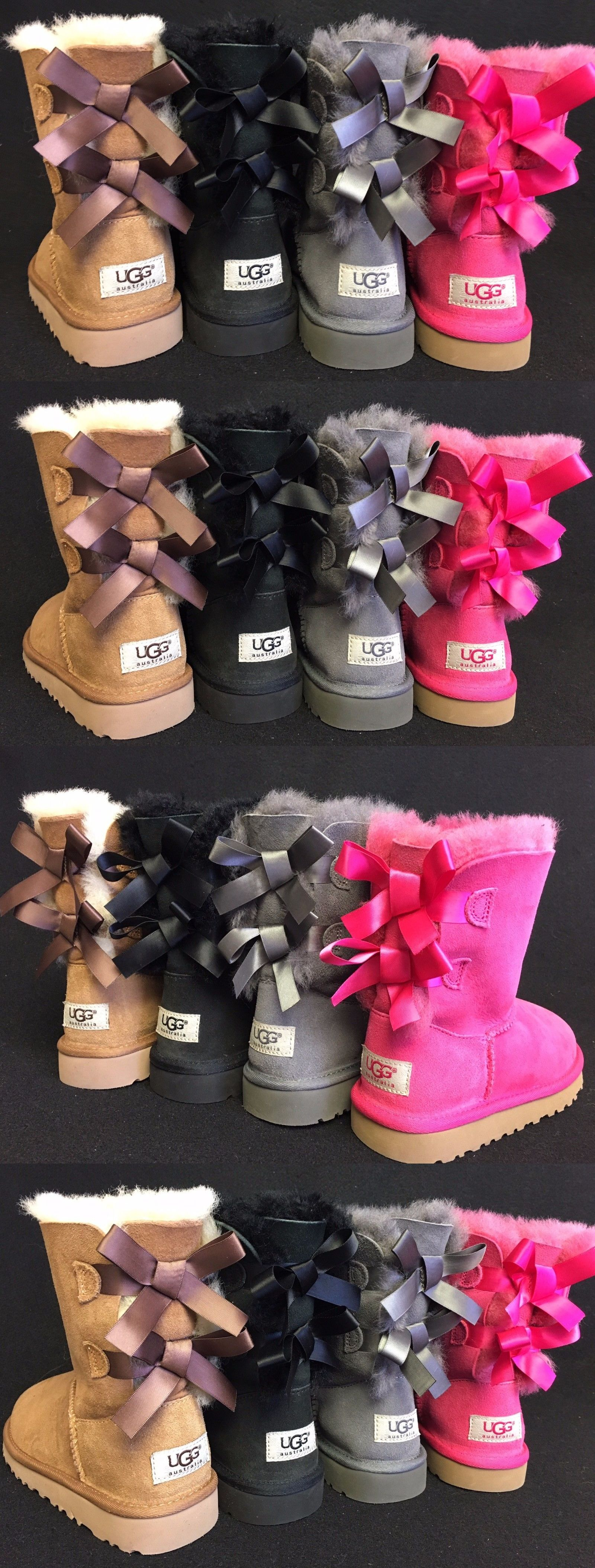 Girls Shoes 57974: Ugg Australia Double Bailey Bow Chestnut 3280 Baby - Big Girls Boots