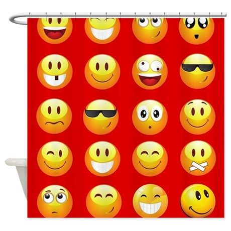 Red Emojis Shower Curtain On CafePress