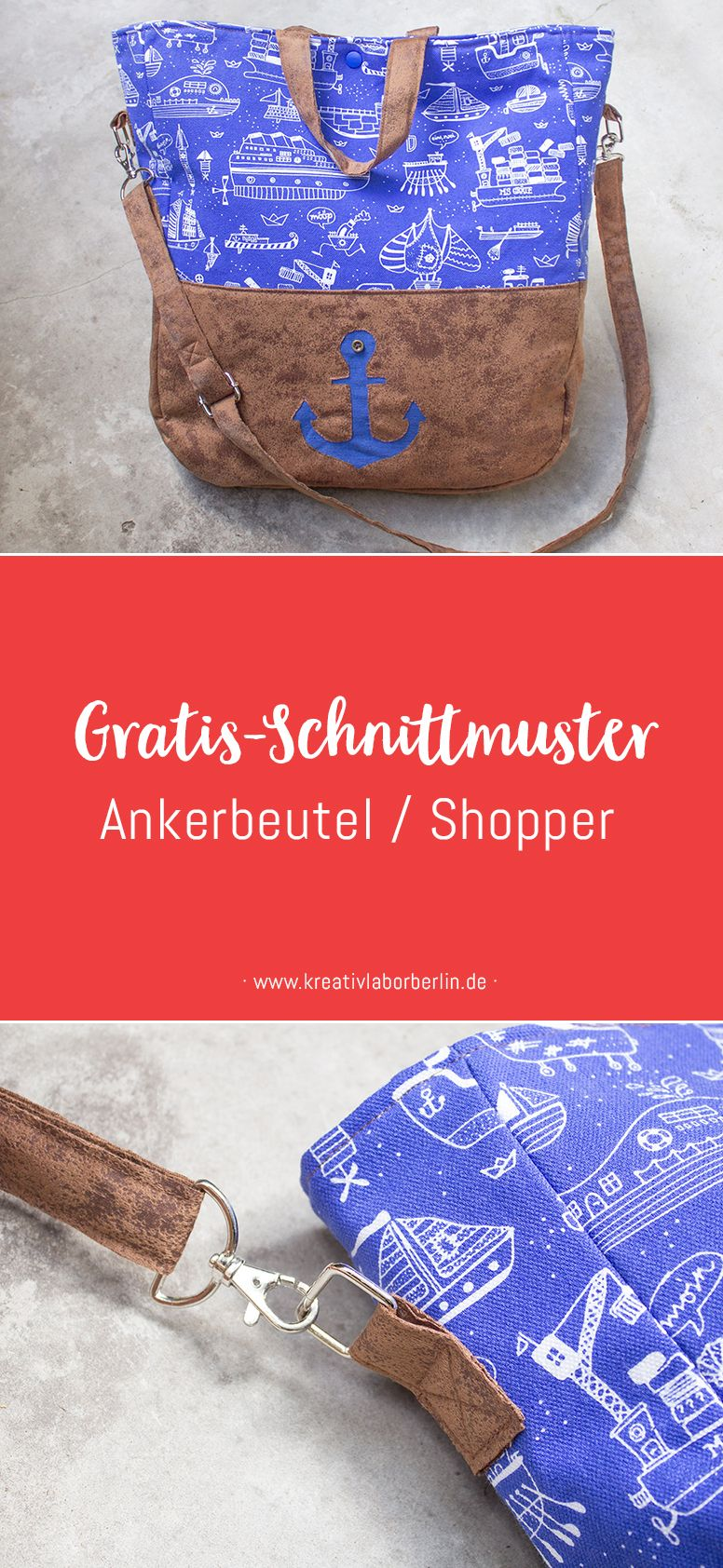 Gratis-Schnittmuster: Maritimer Shopper | Bag DIY | Pinterest ...