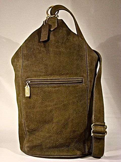 85816250f17 NEW Coach Sonoma Flat Pack Nubuc USA Vintage Classic NWOT Sling Backpack  Daypack Bag Dark Sage Green Textured Cowhide Leather 4944.  299.95, via  Etsy.