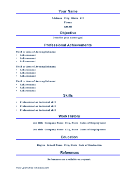 Resume Templates Libreoffice Bright Blue Lines Divide This Printable Resume Into Professional