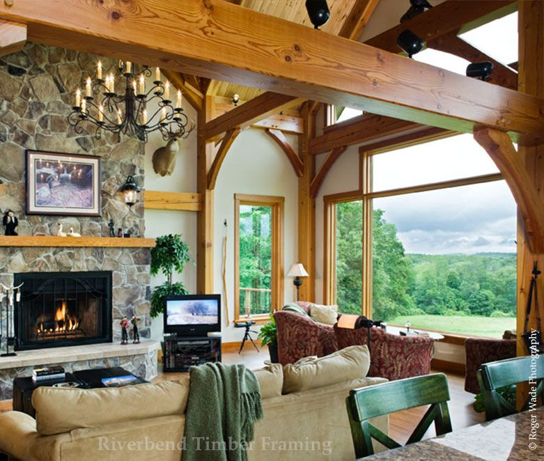 Hillside Great Room | timber frames | Pinterest | Casas