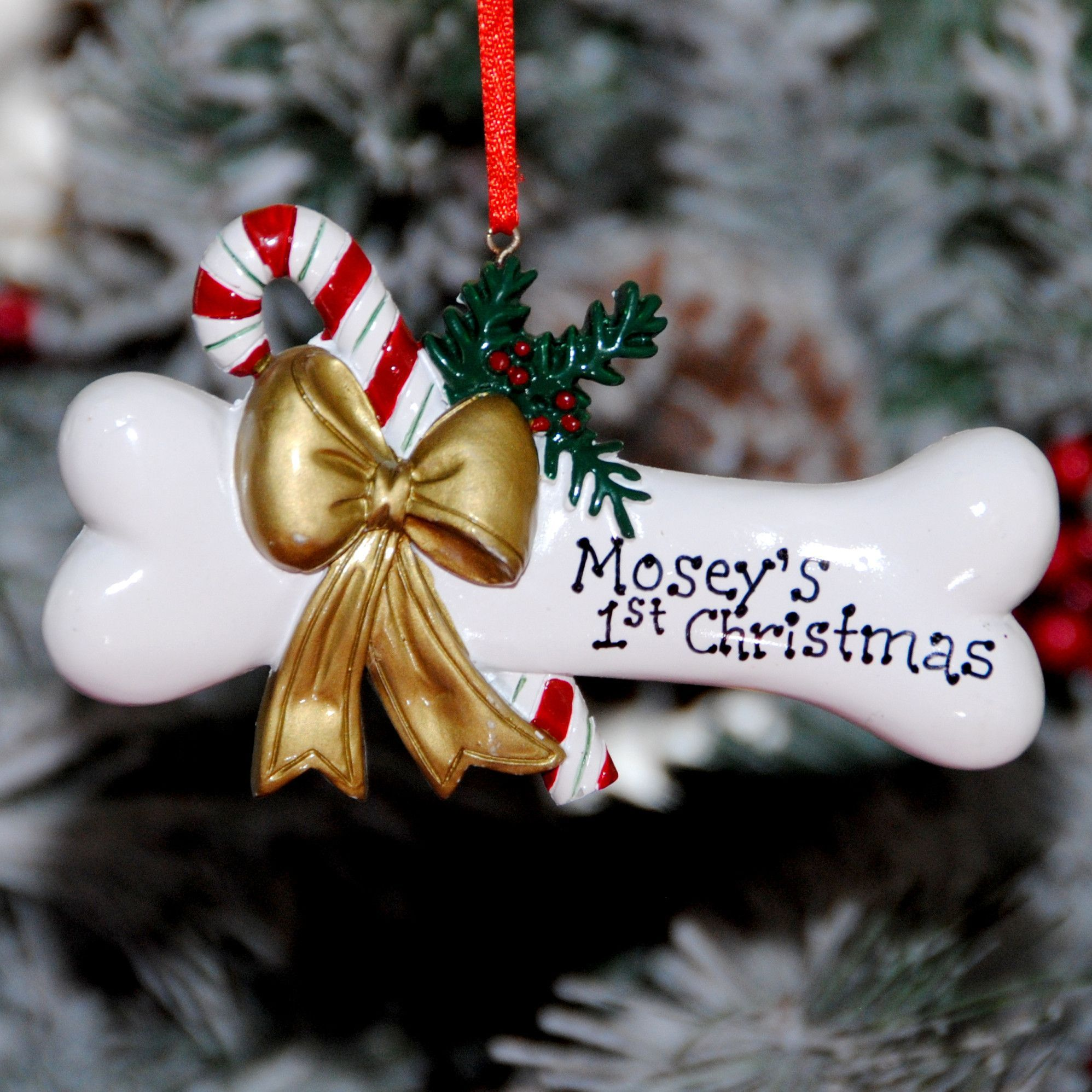 Dog Bone With Holly Personalized Christmas Ornament