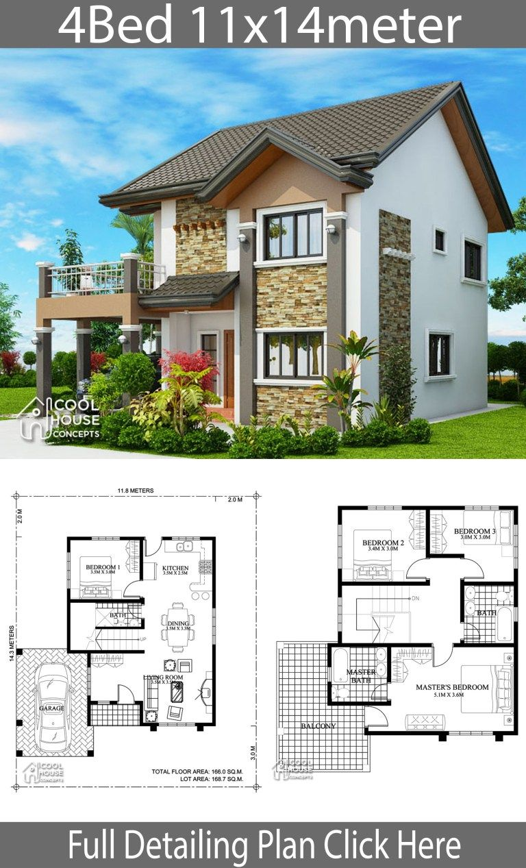 Home Design Plan 11x14m With 4 Bedrooms Home Design With Plan Two Story House Design Simple House Design Bungalow House Plans