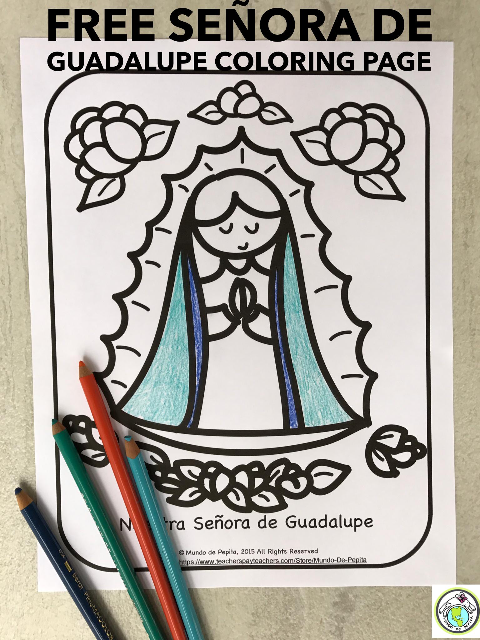 Free señora de guadalupe coloring page mundo de pepita resources