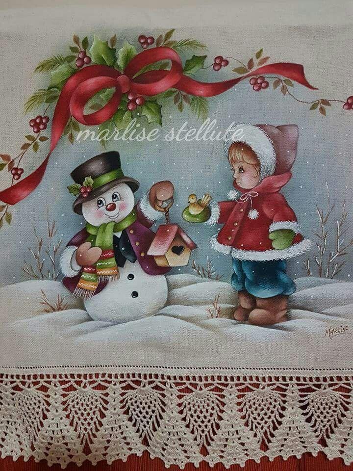 Resultado de imagen para manteles navide os en pintura en - Motivos navidenos para pintar en tela ...
