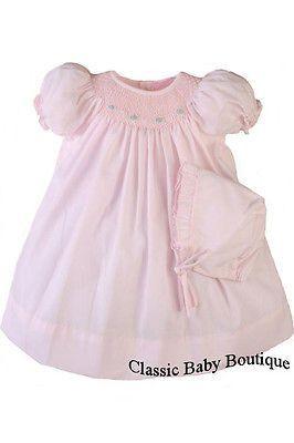 70fbc2f55 Petit Ami Girls Pink Bishop Smocked Baby Girls Dress Daygown Preemie ...