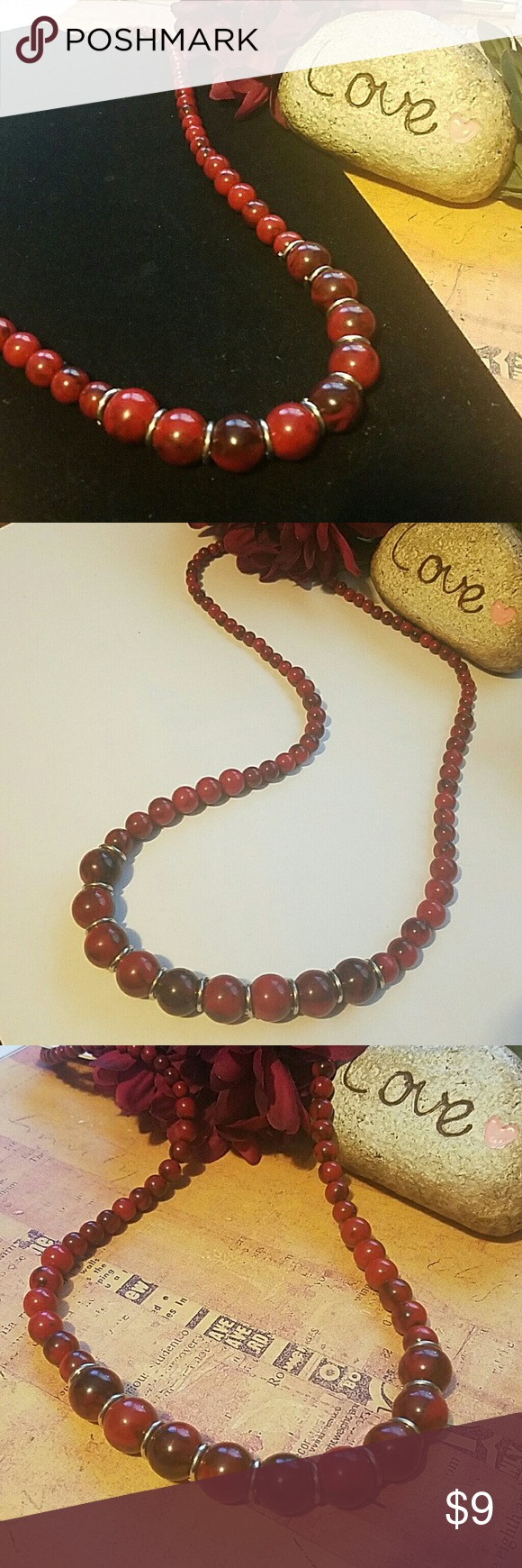 """26"""" Red & Black Marbled Bead Necklace Silver ring accents, to accent larger beads & silvertone lobster closure Jewelry Necklaces"""