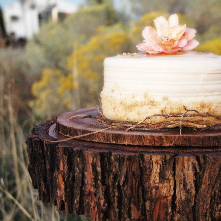 Simple! Just a beautiful bud!    Cake, Rustic, Tree, Topper, Wood, Stand