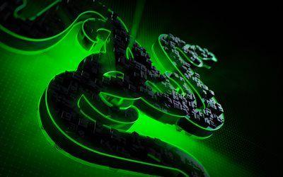 ダウンロード画像 Razer, 4k, ゲーミング機器, 創造, Razerのロゴ, 3dアート Black