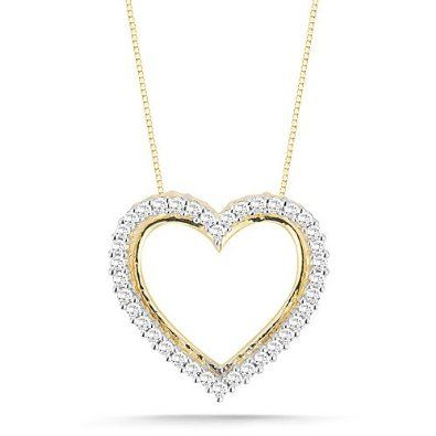 Diamond heart pendant necklace 10k yellow gold diamond heart diamond heart pendant necklace 10k yellow gold diamond heart pendant necklace 110 aloadofball Gallery