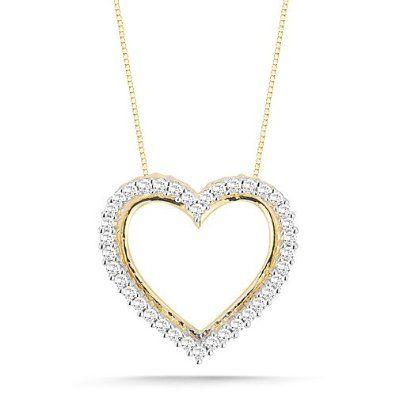 Diamond heart pendant necklace 10k yellow gold diamond heart diamond heart pendant necklace 10k yellow gold diamond heart pendant necklace 110 aloadofball Choice Image