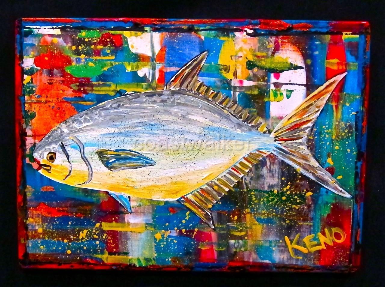 Felix murillo lleno de colores painting acrylic artwork fish art -  Pompano Fish Painting Maine Abstract Folk Art Outsider Coastwalker Ebay