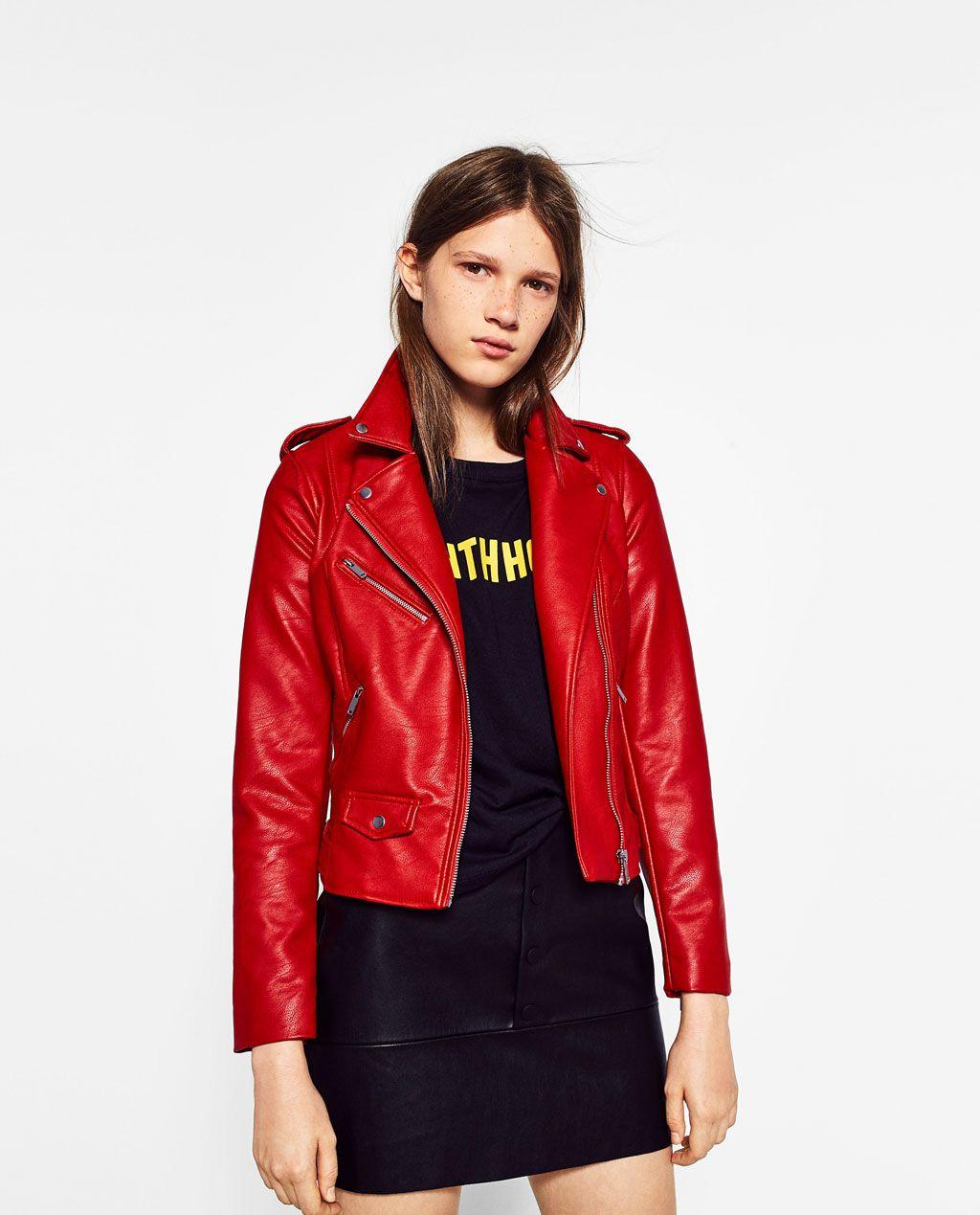 Colourful Red Jacket Biker Trf Zara Pinterest 1wfUqSS