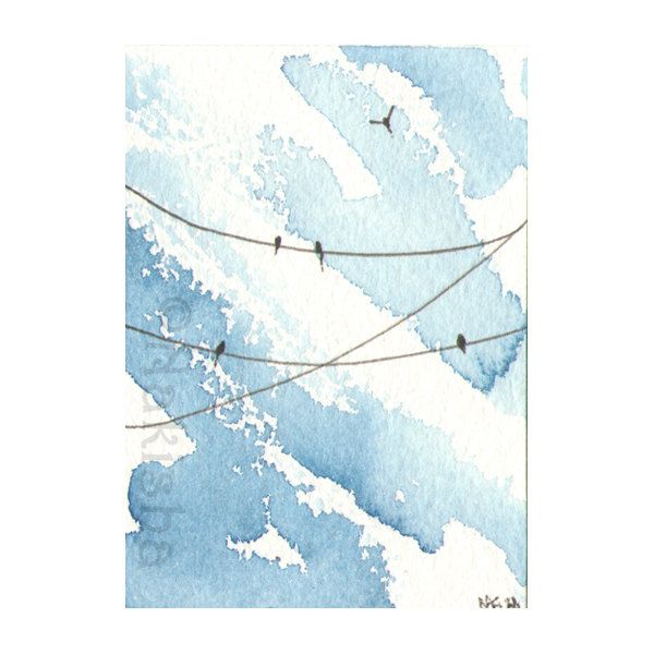 Original Watercolor Painting Bright Blue ACEO by bluedogrose