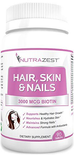 Nutrazest Hair Skin Nails Vitamins Formula Folic Acid A B C D E Enhanced 3000mcg Biotin To Reduce Fall Promote Growth Health