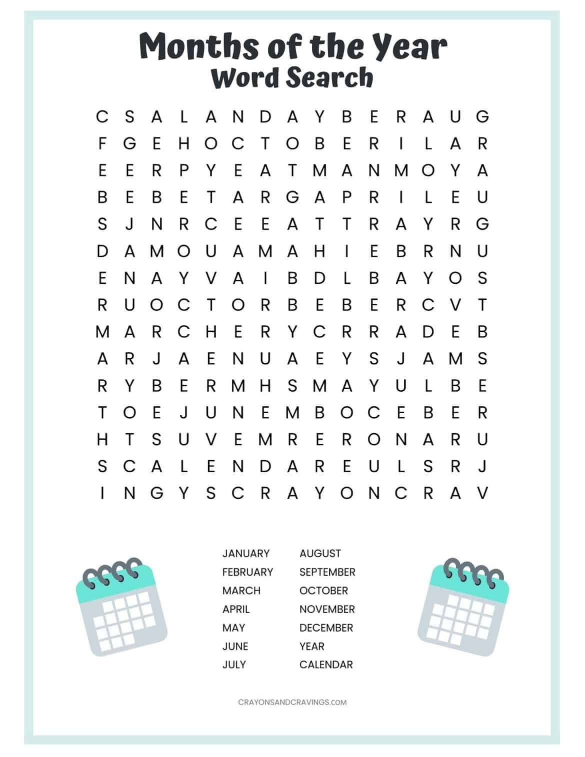 A Free Printable Months Of The Year Word Search Puzzle