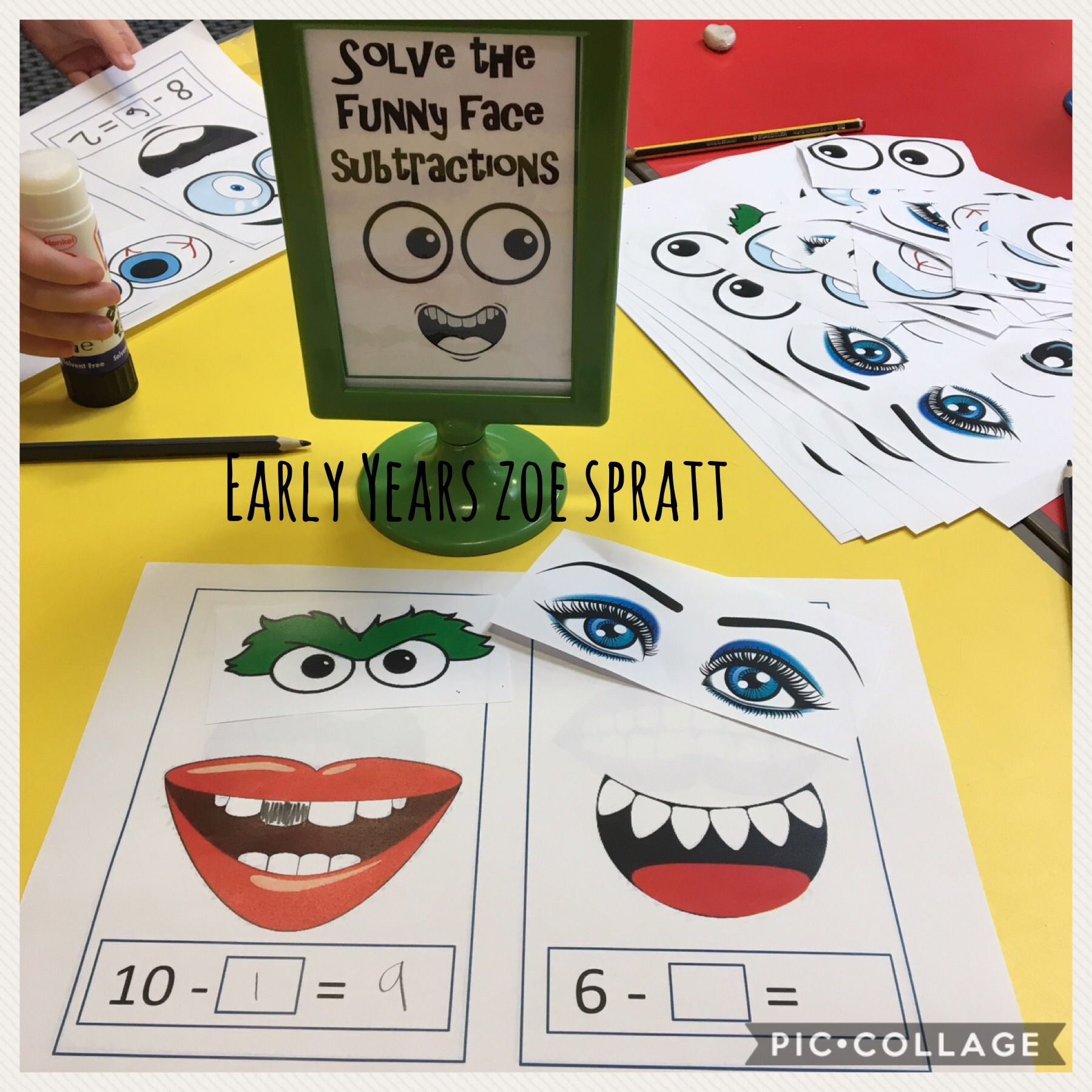 Subtraction Funny Faces