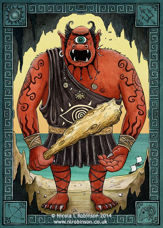 Nicola L Robinson Illustration for Greek Mythology Polyphemus the