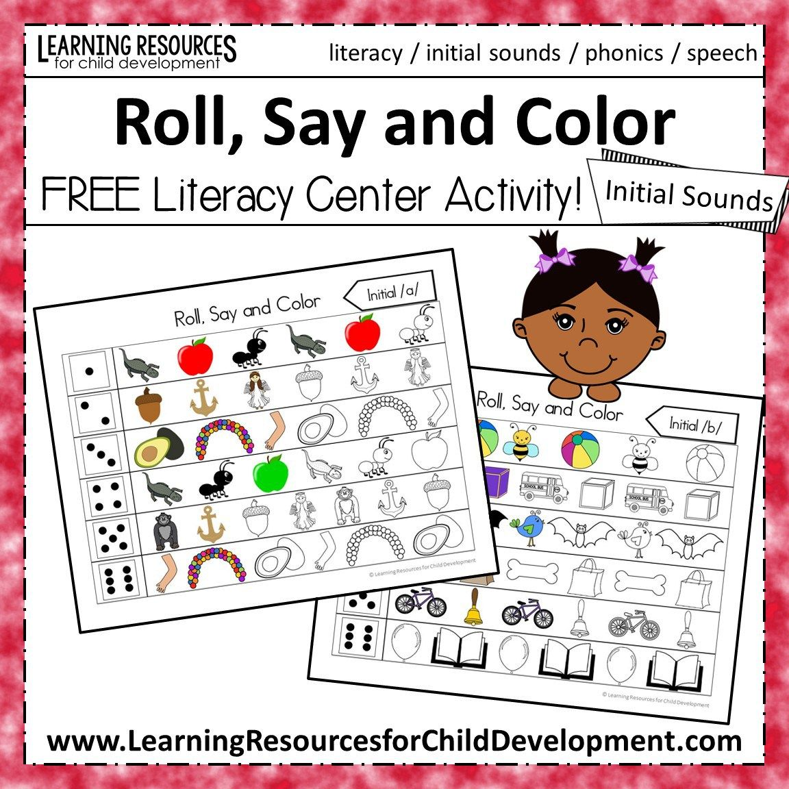 Roll Say And Color Initial Sounds