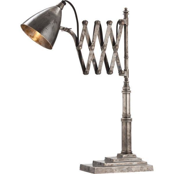 Arteriors Fraiser Vintage Accordian Desk Lamp (915 CAD) ❤ liked on Polyvore featuring home, lighting, desk lamps, lamps, lights, arteriors lamps, vintage lamps, arteriors, arteriors lighting and vintage desk lamp