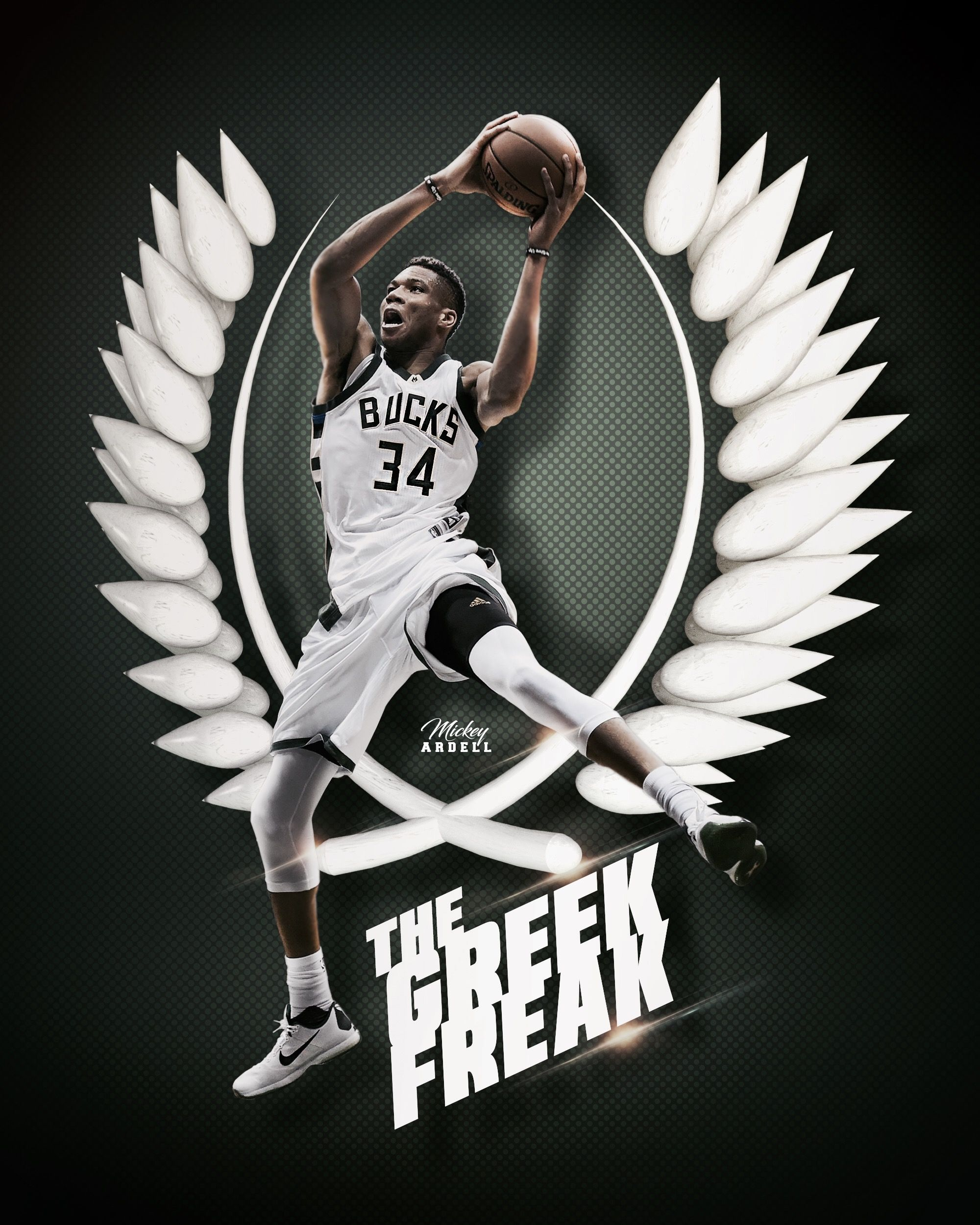 Giannis Antetokounmpo Milwaukee Bucks NBA Art wmcskills
