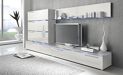Liren White   Contemporary Wall Unit / European Entertainment Center /  Design Furniture With LED Lights (White)