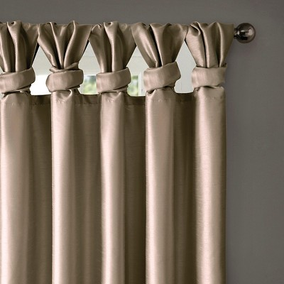 Lillian Twisted Tab Lined Curtain Panel Taupe Brown 50 X95