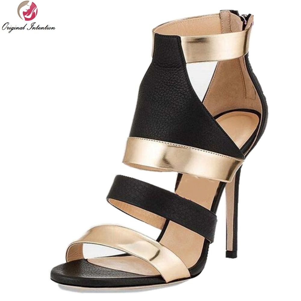 Original Intention Stylish Women Sandals 2017 Open Toe Thin Heels Sandals  Fashion Black and Gold Shoes Woman US Size 3.5-10.5 5eb21f414e23