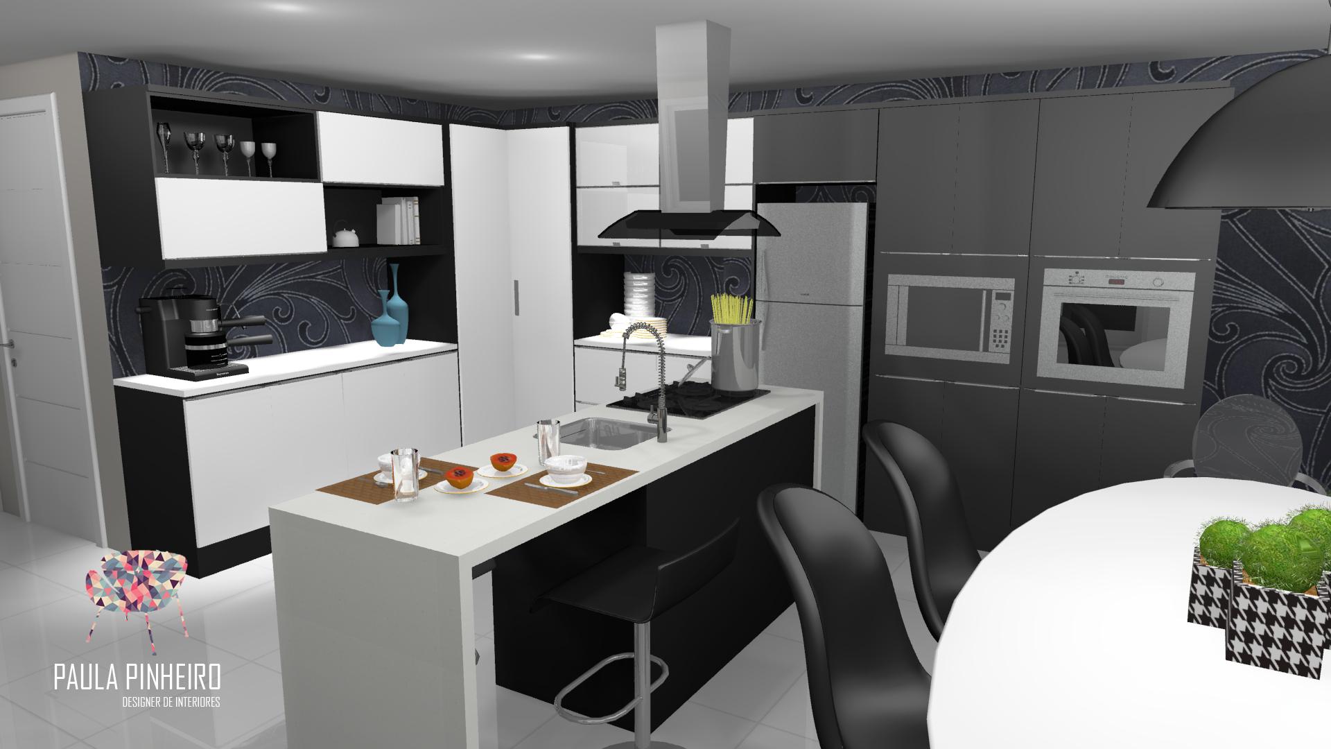 Cozinha Com Ilha Projeto Paula Pinheiro Renderiza O Promob Plus