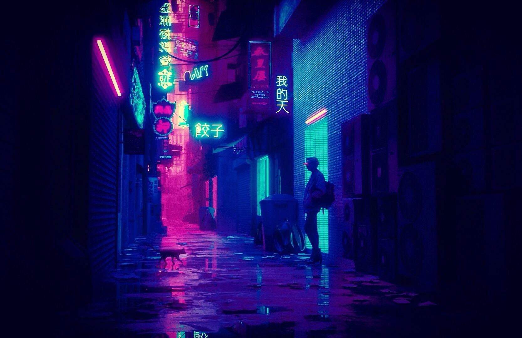 Some cyberpunk neon alley I made in Blender3d Cyberpunk